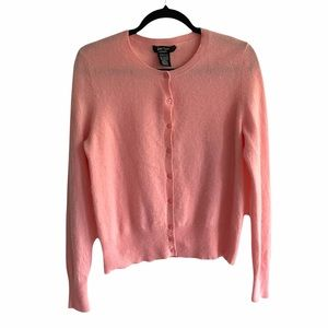 LORD & TAYLOR Cashmere Cardigan Sweater Pink L